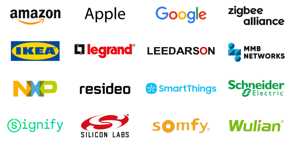16 logos of one of the most famous tech companies that are joined in the Project Connected Home over IP Including Amazon, Apple, Google, Zigbee, IKEA