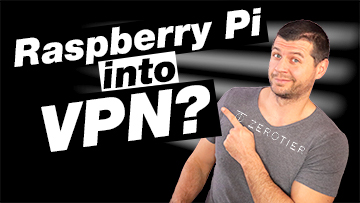 Raspberry Pi into VPN label and me pointing at that direction with a ZeroTier t-shirt