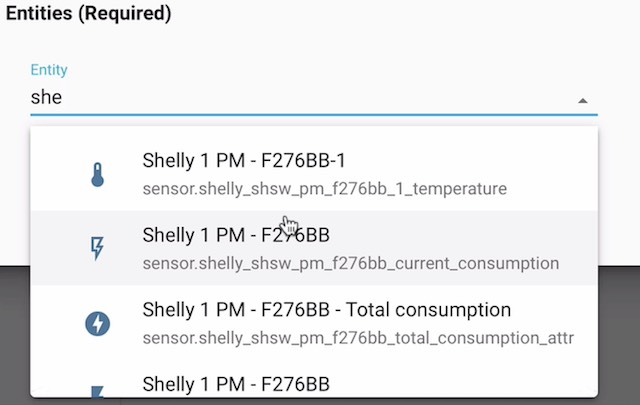 Adding Shelly entity in the Entities card - Home Assistant