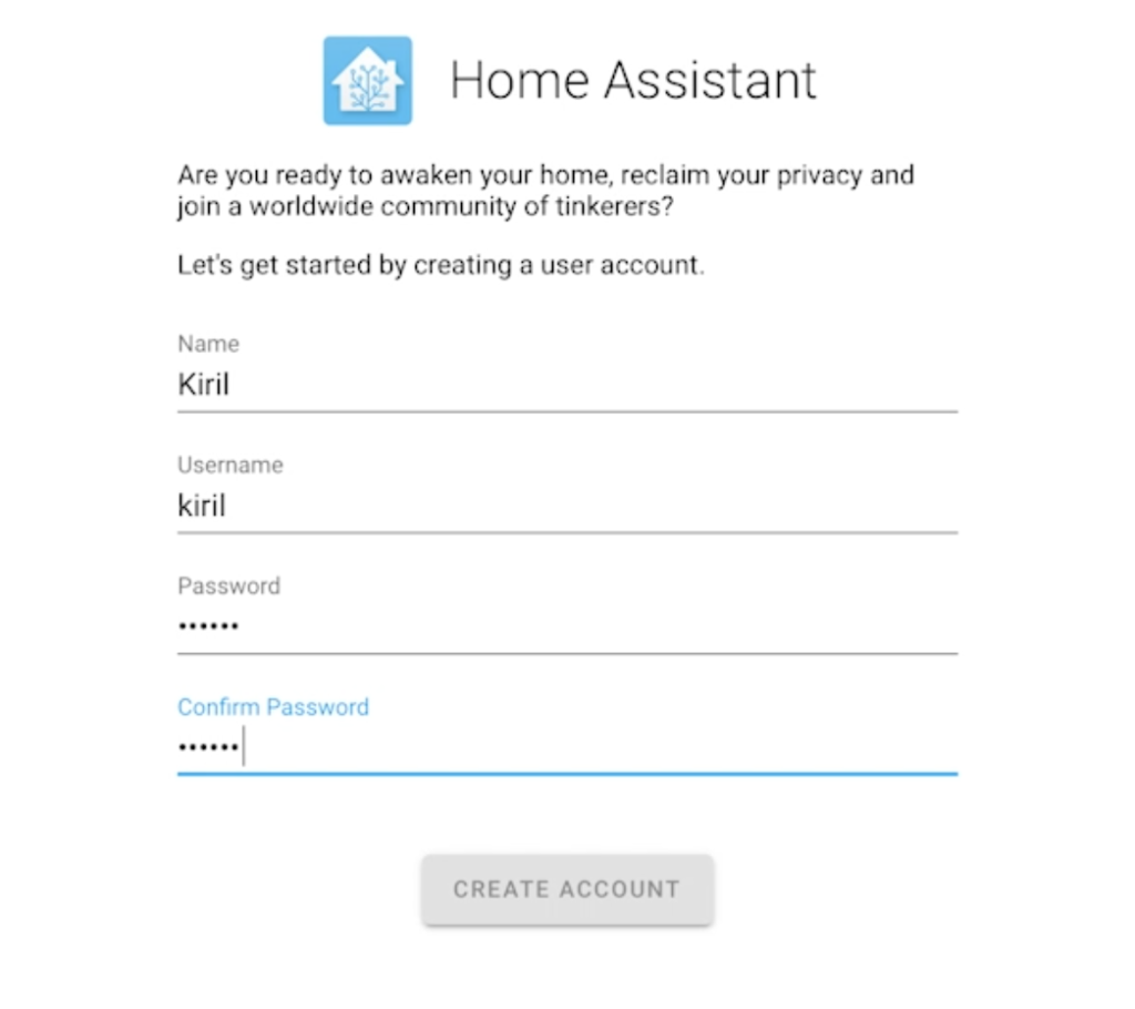 Home Assistant Initial Setup Screen