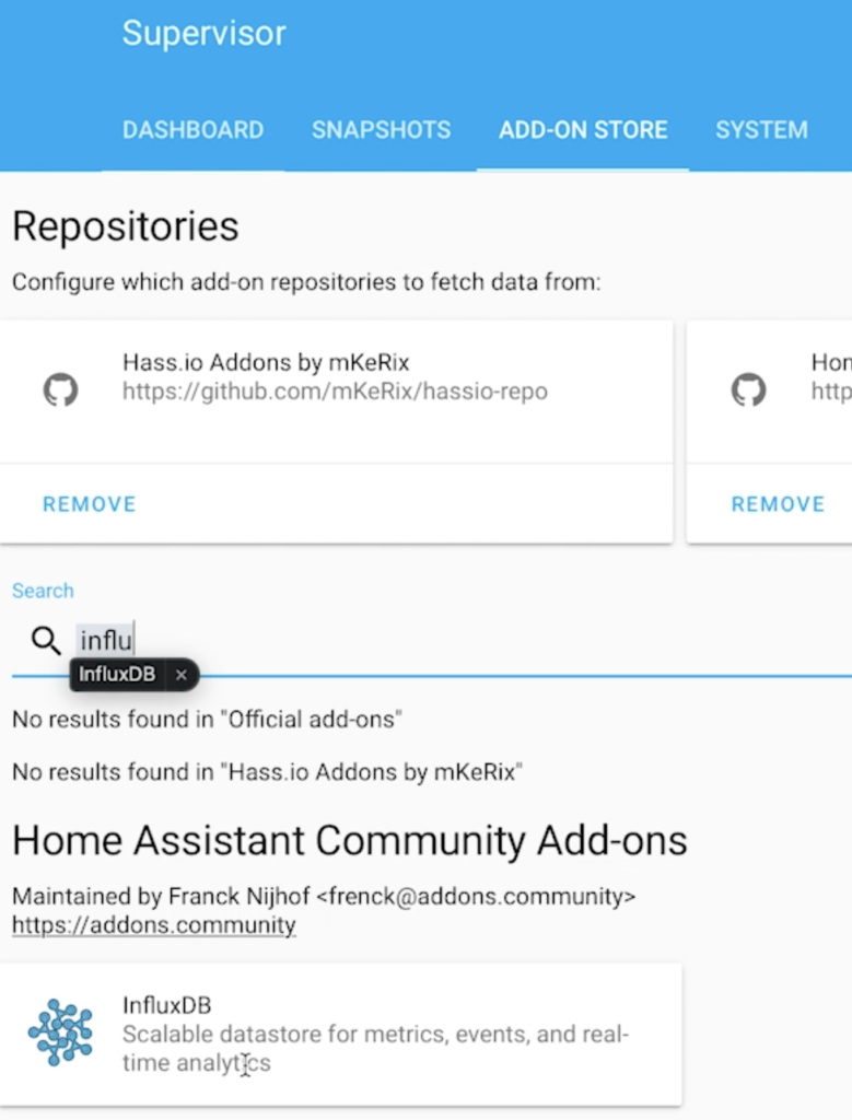Searching for InfluxDB in Home Assistant add-on store