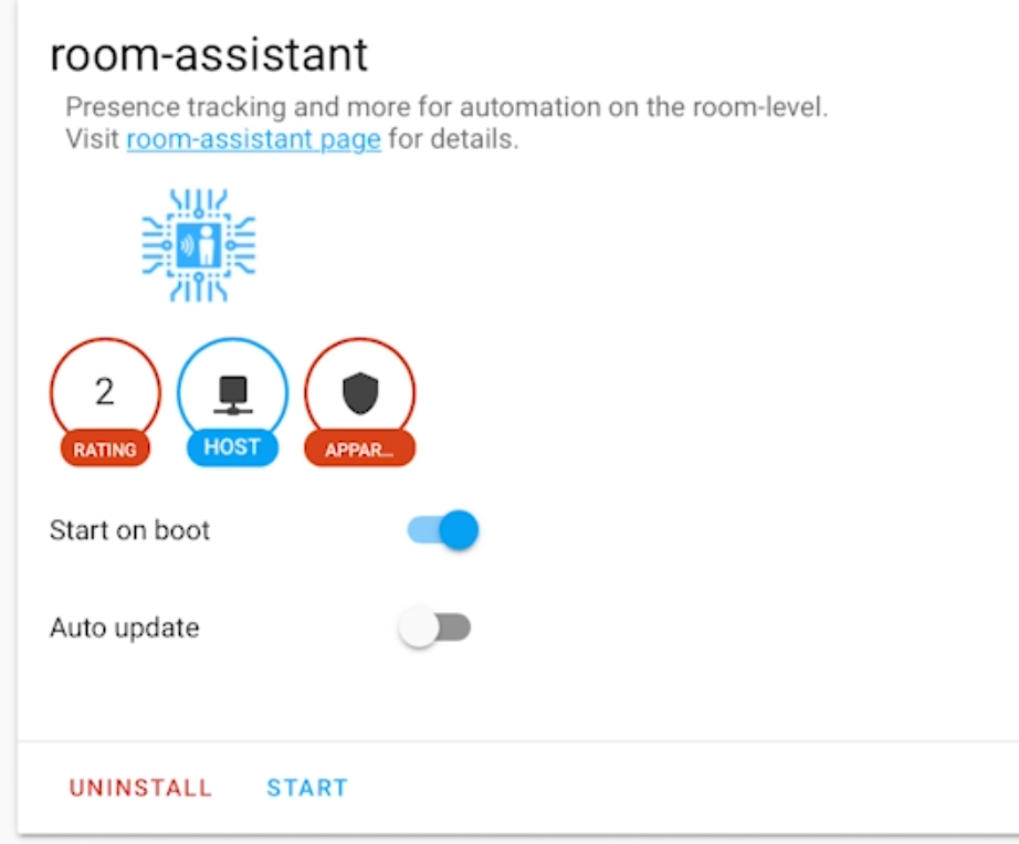 Successful installation of room assistant within home assistant