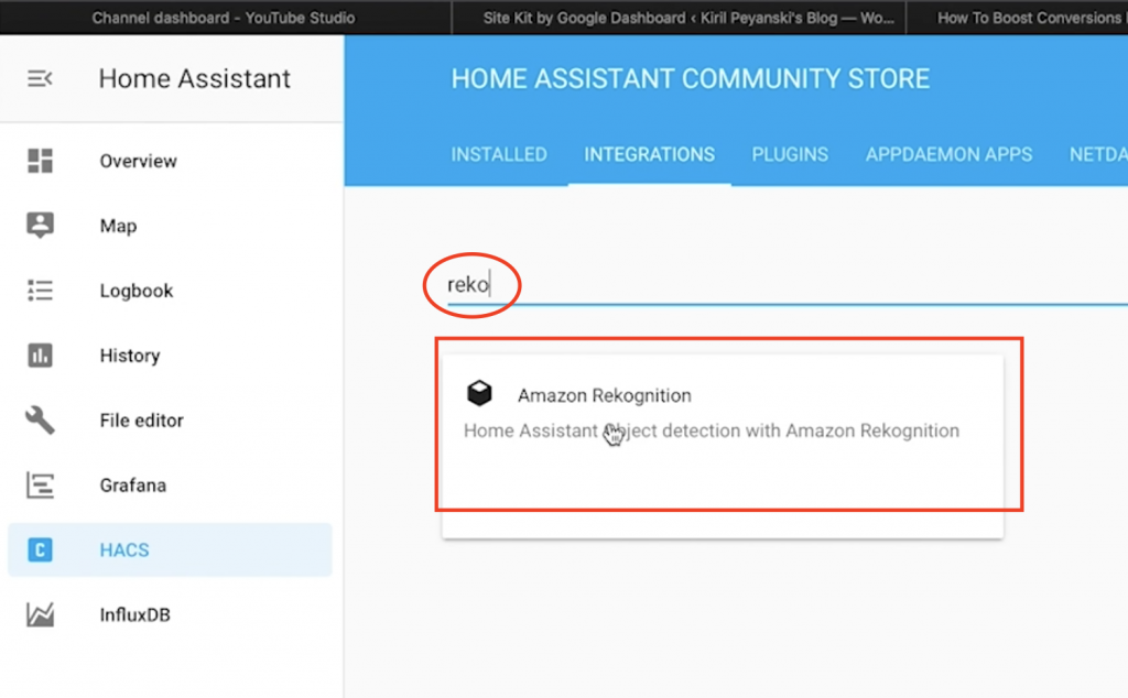 "Search for ""Rekognition"" in the HACS section under Home Assistant"