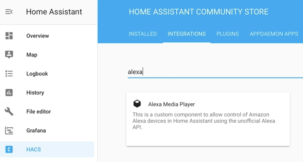 Searching fro Alexa Media Player in HACS
