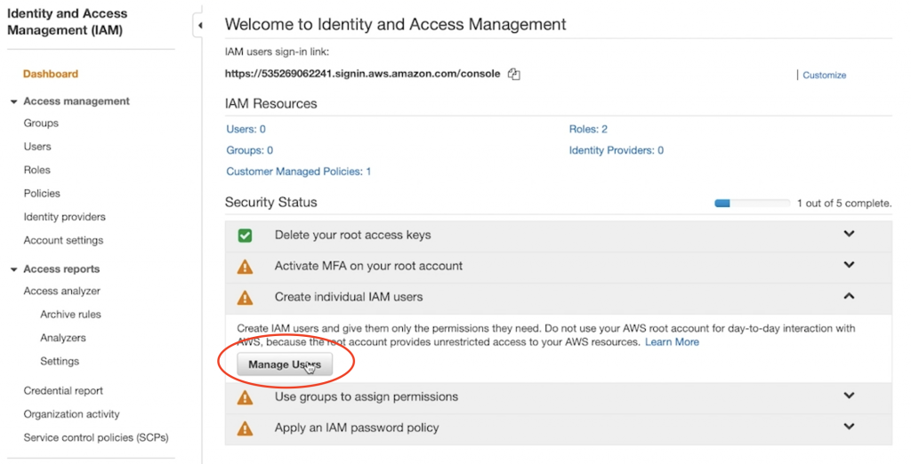 Manage user button under Create individual IAM users