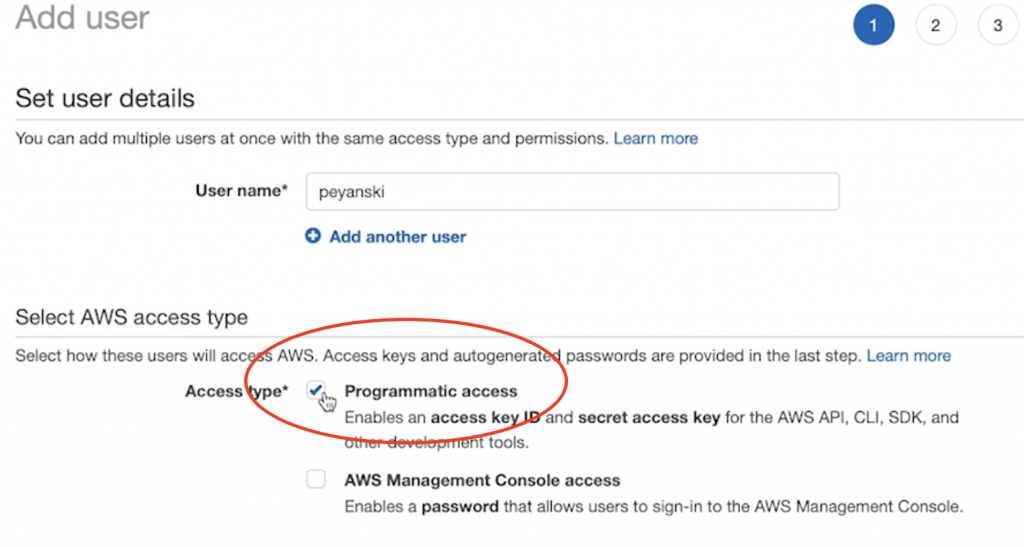 Programmatic Access selected when creating an Amazon Rekognition User