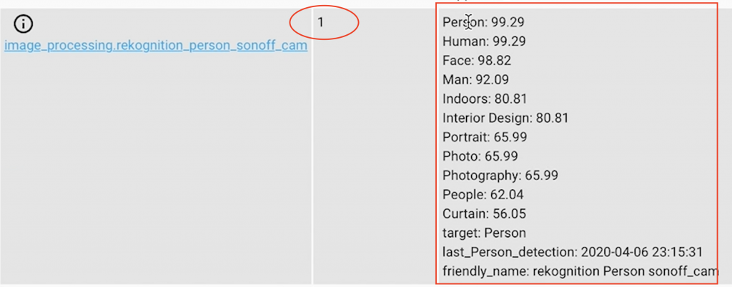 Details of the processed image by Amazon Rekognition service displayed in th STATES tab