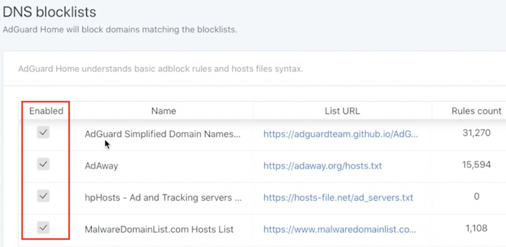 Enable All available DNS blocklists
