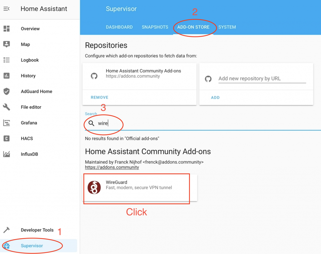 Searching for WireGuard Integration in Home Assistant.
