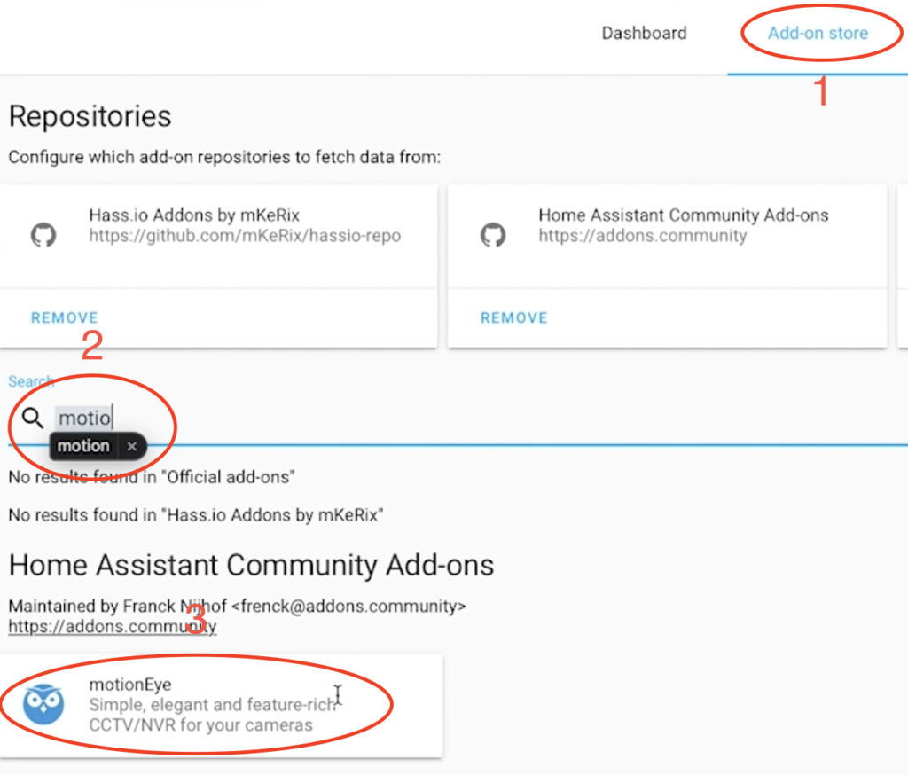 Search for MotionEye in Home Assistant Add-on store.