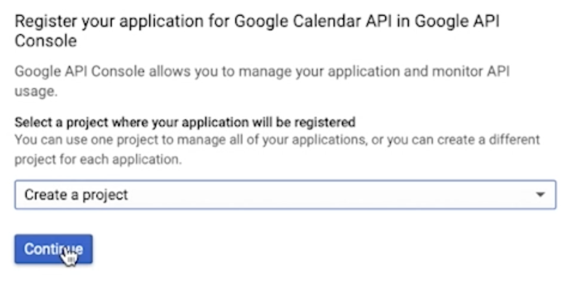 Create a project in Google API console