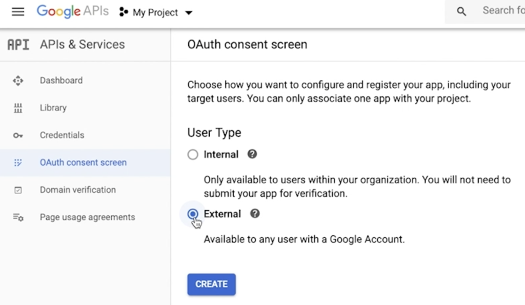 Selecting OAuth consent screen