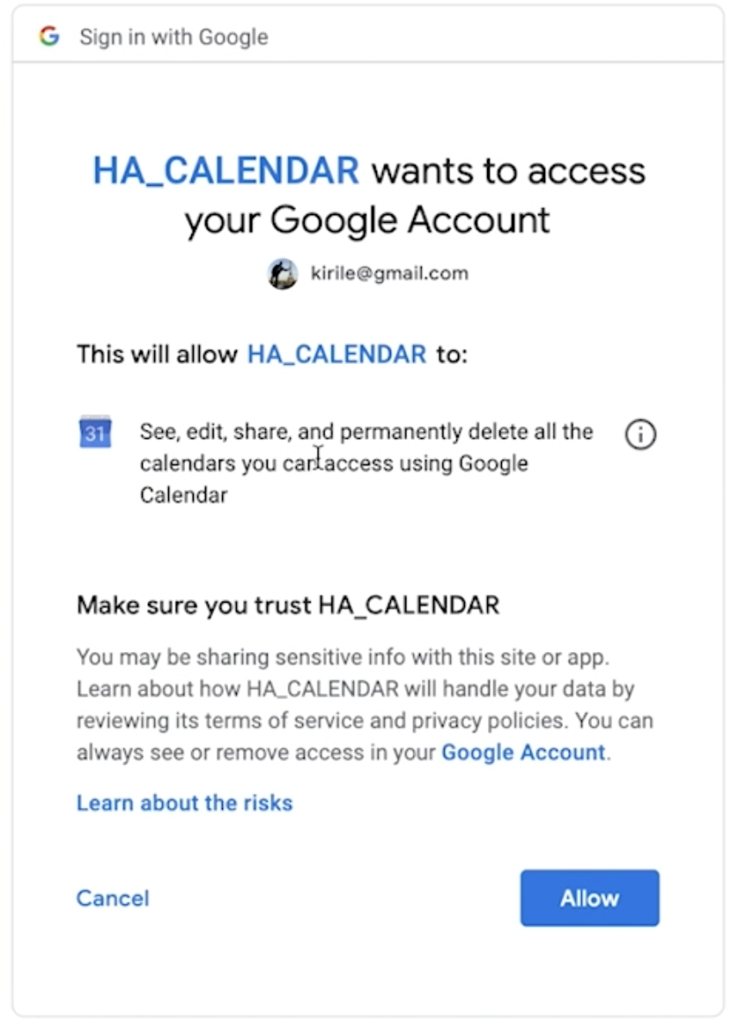 Allow Google Calendar API to be used by Home Assistant