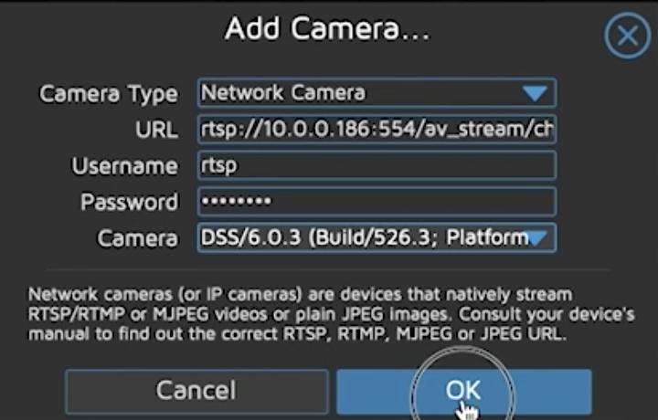 Adding a Network RTSP Camera in MotionEye