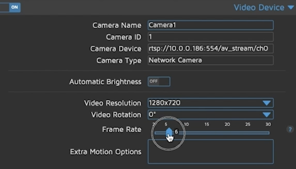 Setting the video resolution and frame rate of the camera within MotionEye