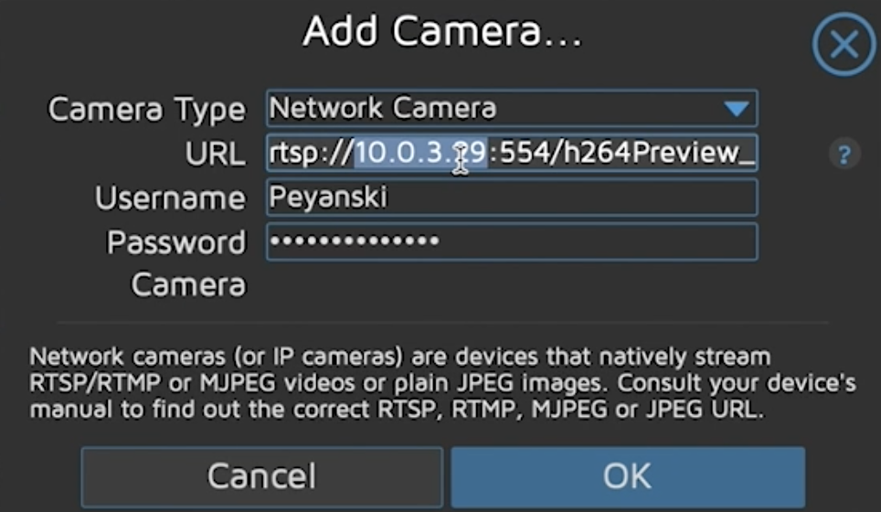 Adding the Reolink Camera in motionEye