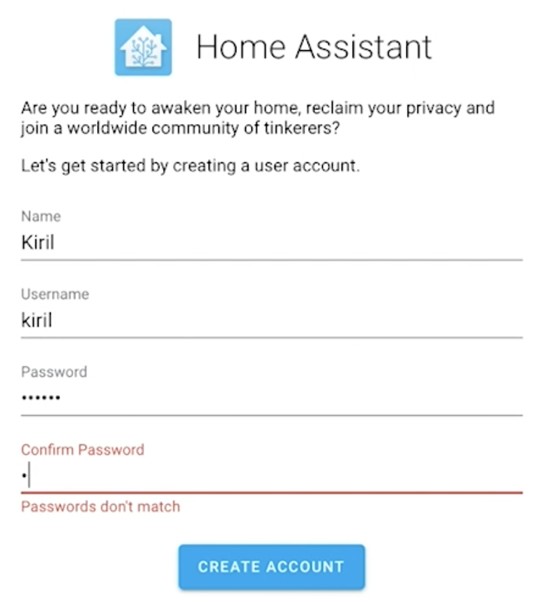 Home Assistant Welcome screen for user creation.
