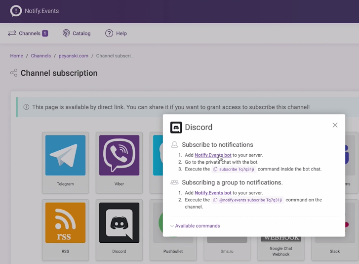 Subscribing for Discord Notification