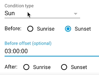Adding Condition of type Sun from the Home Assistant User Interface