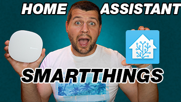 Me holding Home Assistant and SmartThings v3 hub