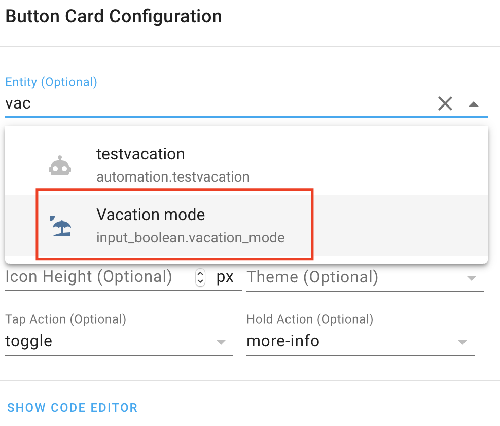 Adding Home Assistant Vacation Mode button in the Dashboard