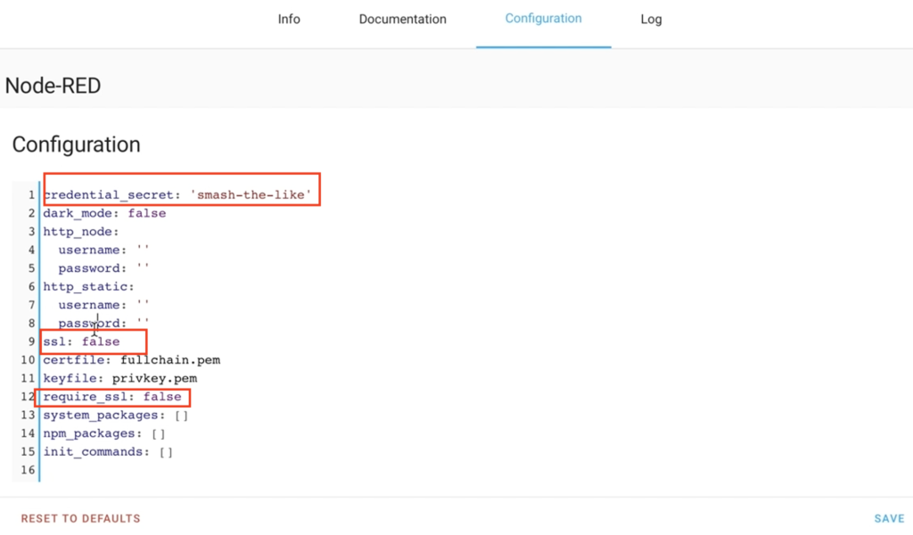 Configuring Node-RED add-on in Home Assistant