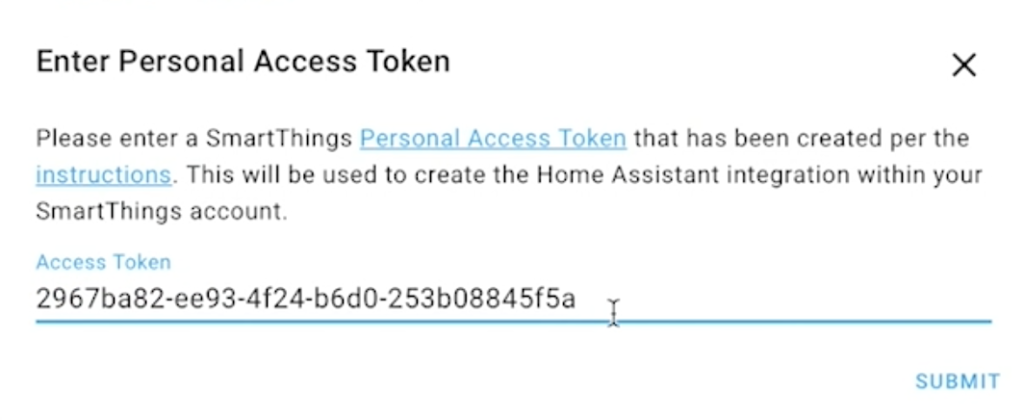 Pasting the SmartThings token in Home Assistant integration