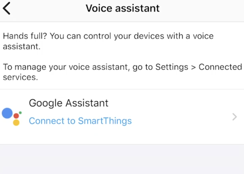 Only Google Assistant is available in SmartThings app under Voice assistant category