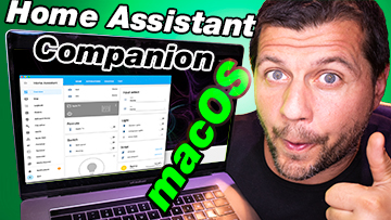 Me with macbook showing Home Assistant companion for macOS