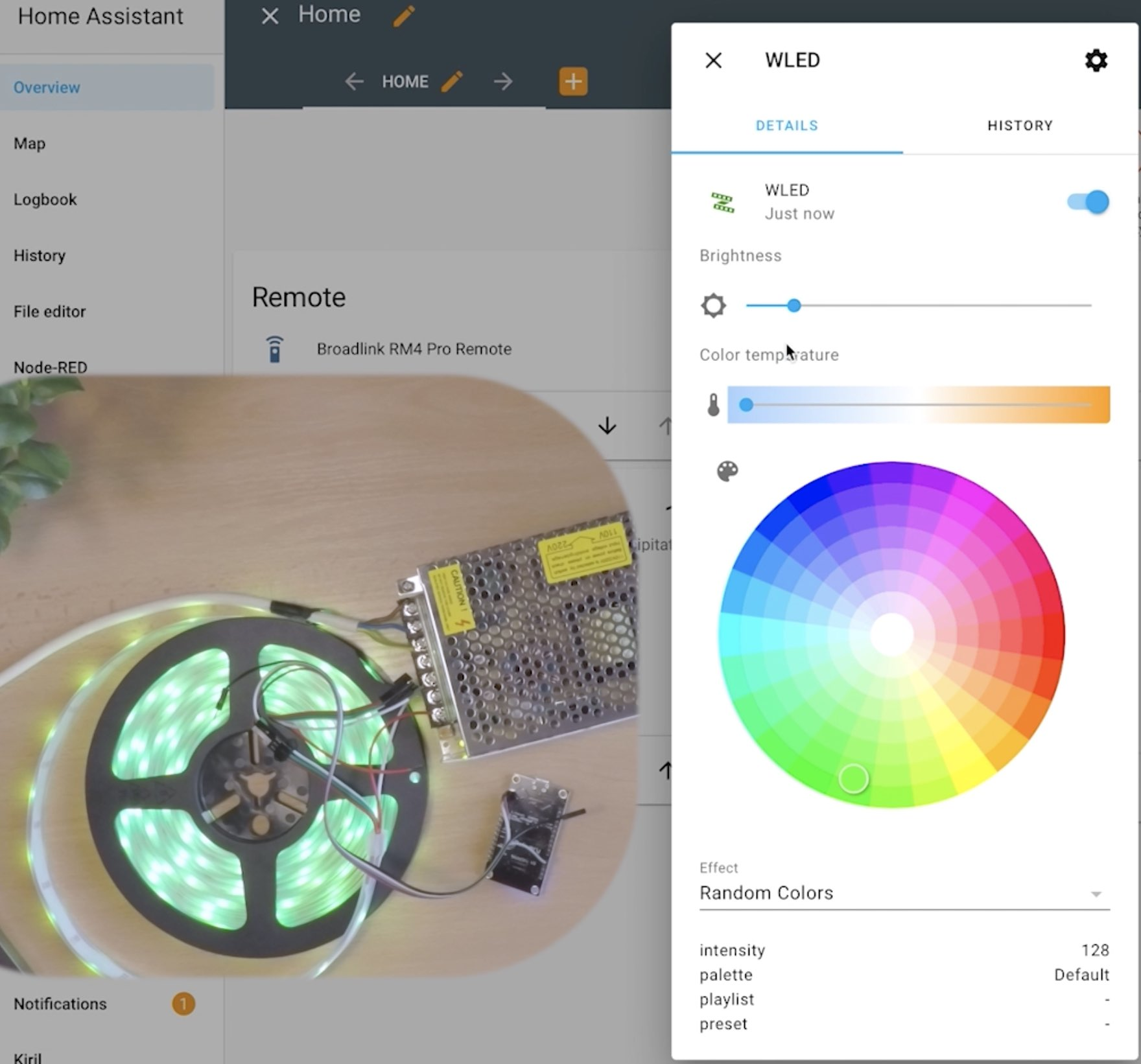Changing the LED Strip colors using Home Assistant and WLED