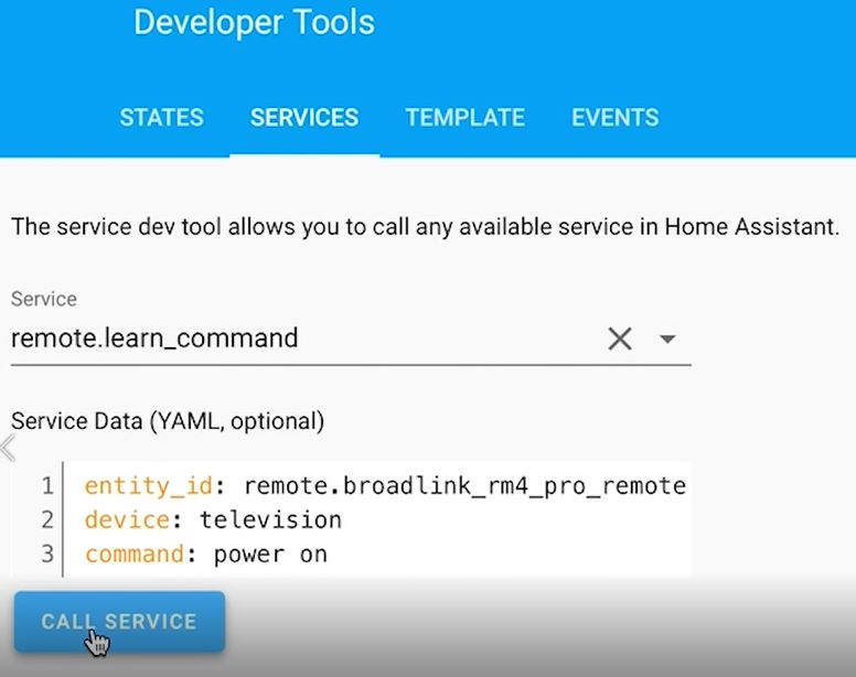 Learning IR command in Home Assistant using Broadlink RM4 Pro