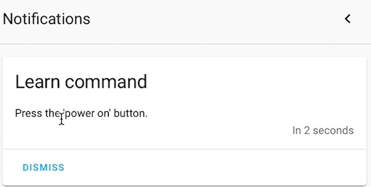 Learning a IR command in Home Assistant using Broadlink RM4 Pro