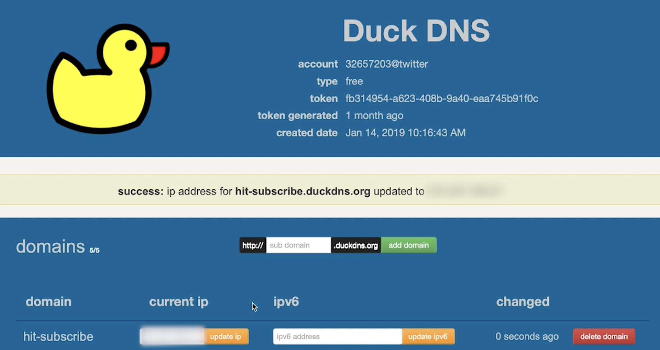 successfully updated duckddns sub-domain needed for the nextcloud