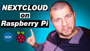 Me pointing at the Nextcloud on Raspberry Pi label