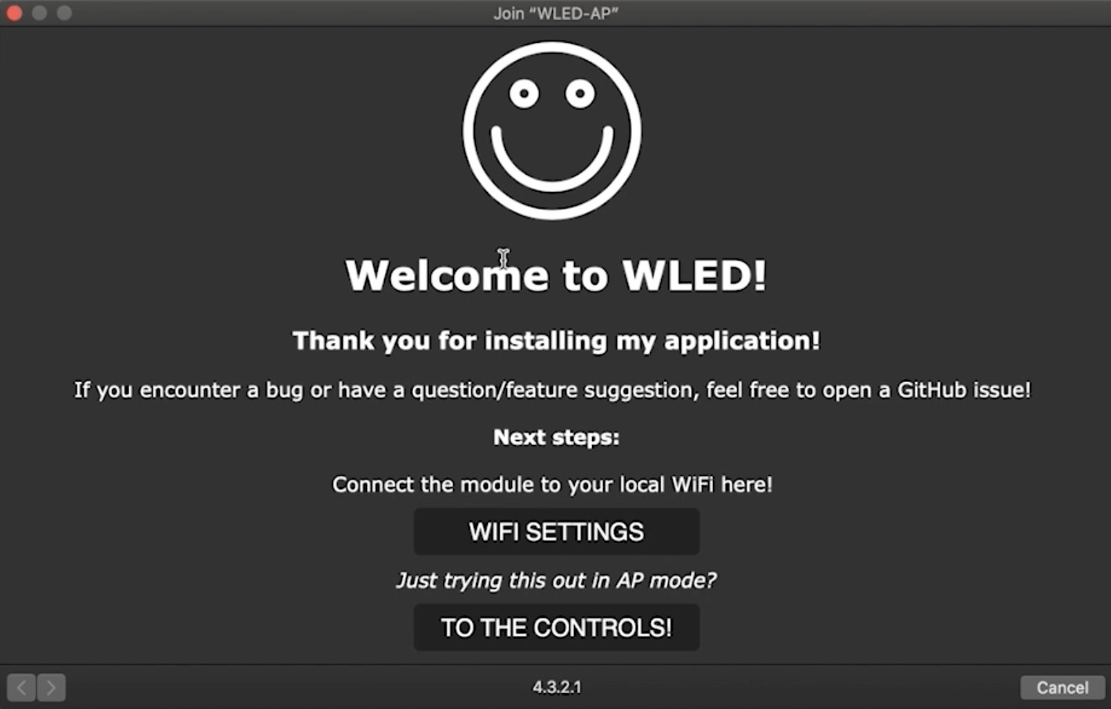 The screen that you will see when you first join WLED-AP