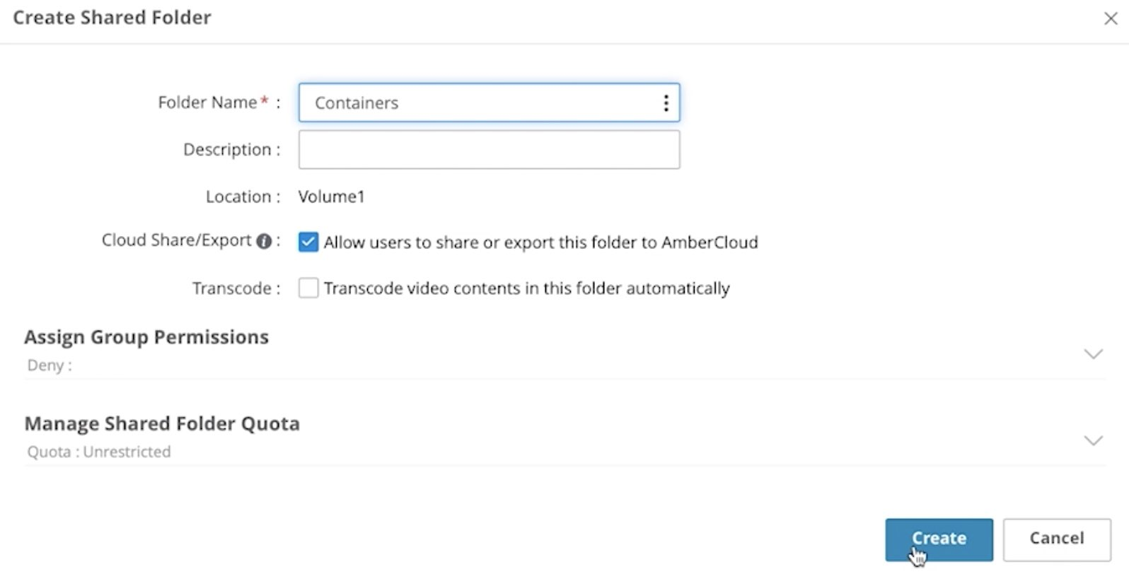 Create Containers Folder in Amber Pro
