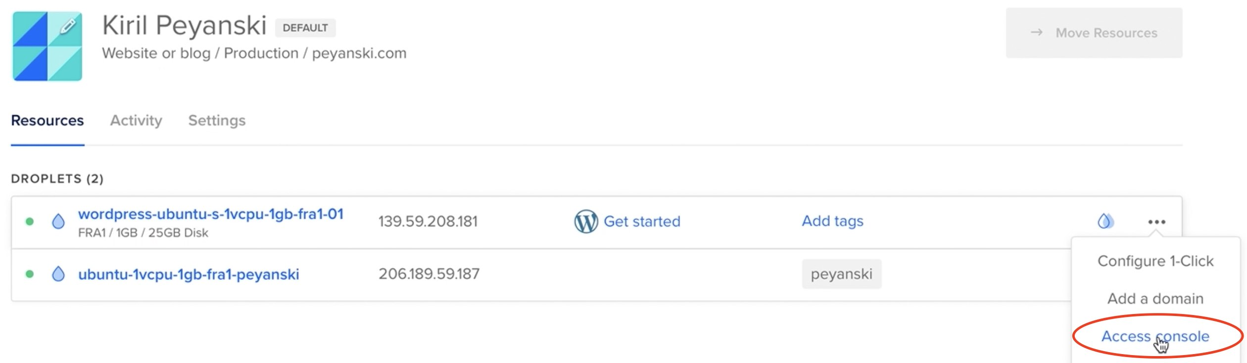 Accessing the DigitalOcean Droplet console to finish the WordPress setup
