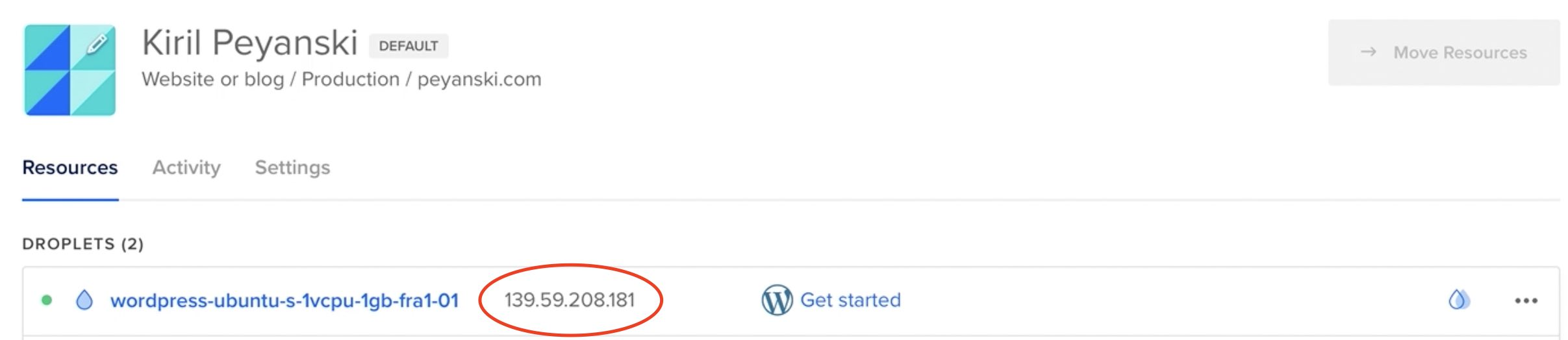 Your future WordPress on DigitalOcean real IP can be found right next to the Droplet name
