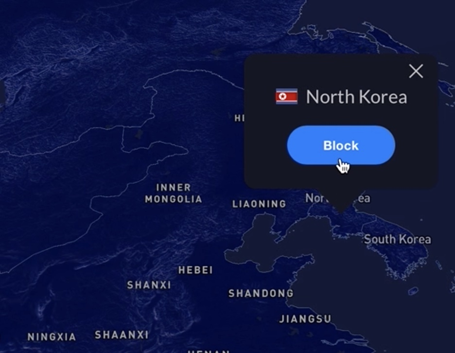 Blocking Country to enable the GeoIP Filtering.