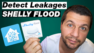 Kiril Peyanski holding Shelly Flood Sensor with label detect leakages and Home Assistant logo