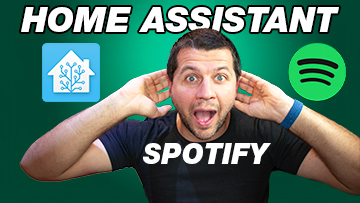Kiril Peyanski holding his ears and home assistant Spotify labels and logos are around me