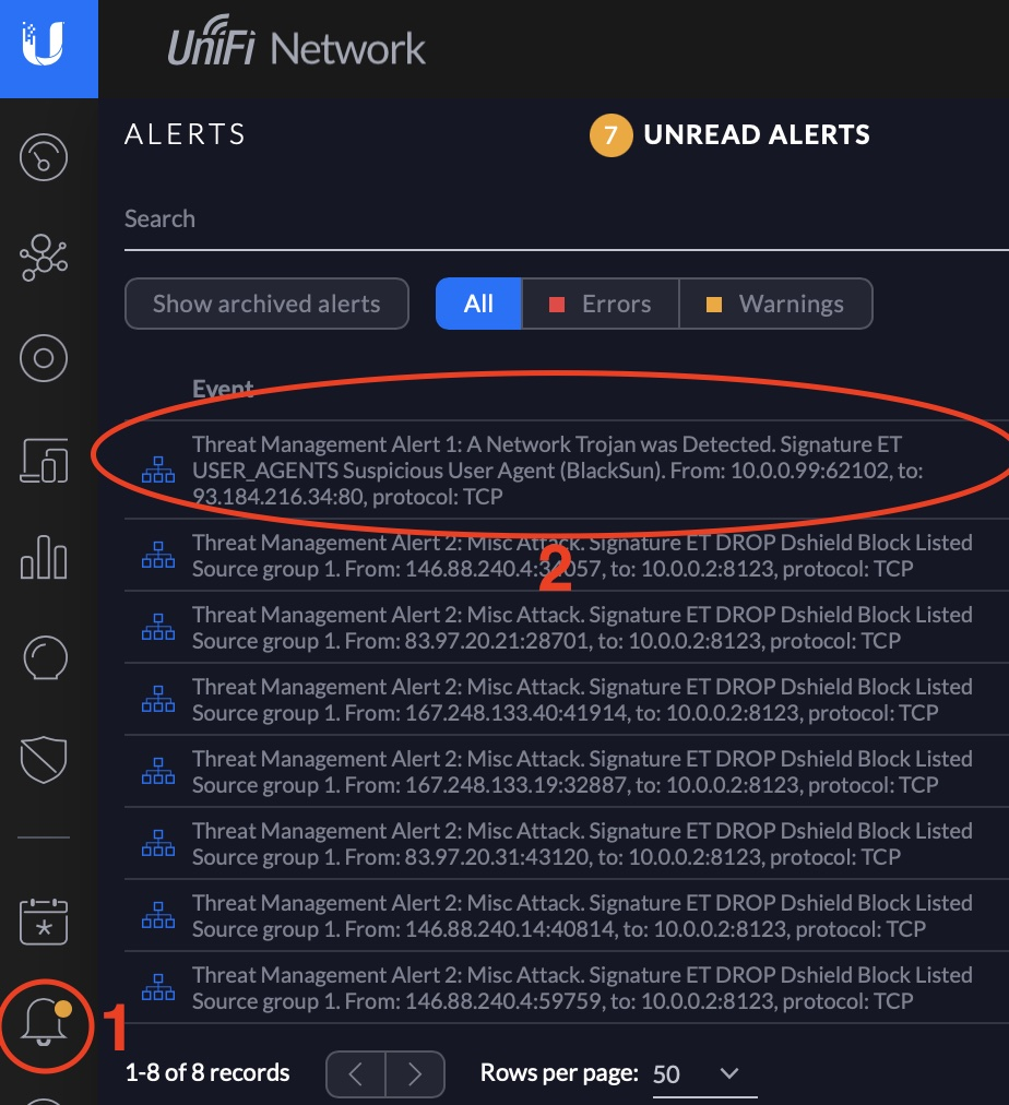 Check the Alerts in UniFi Controller to see the log of blocked/ detected activities by the IDS or IPS