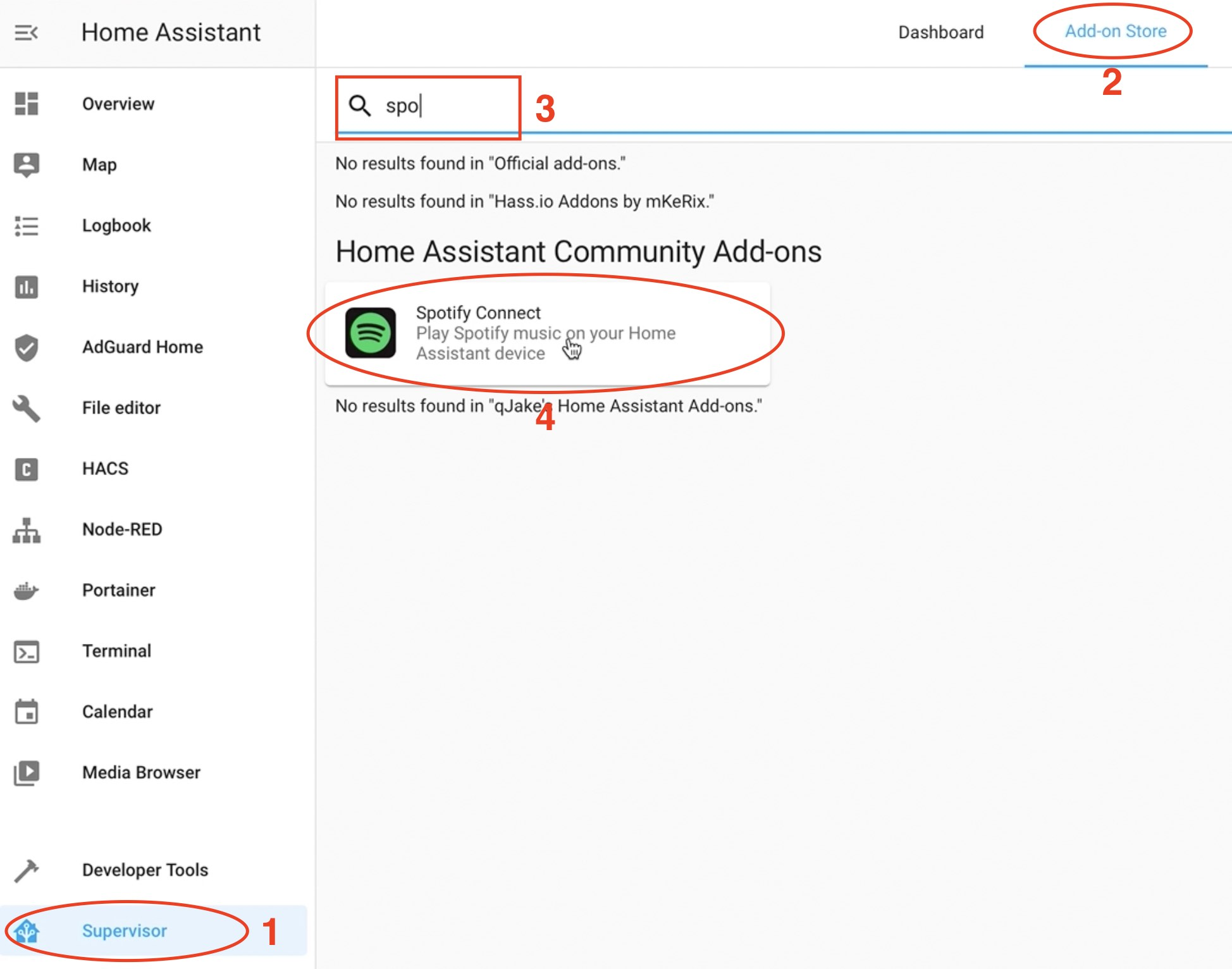 Installation of Home Assistant Spotify connect add-on.