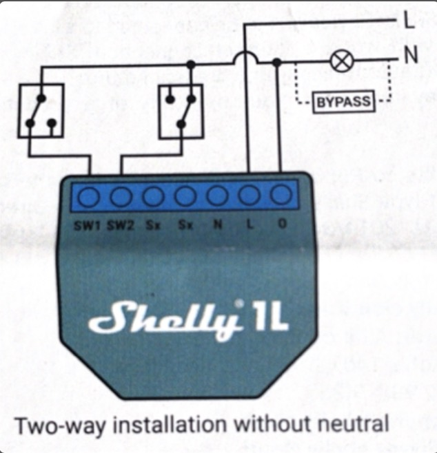 Two-way installation without neutral.