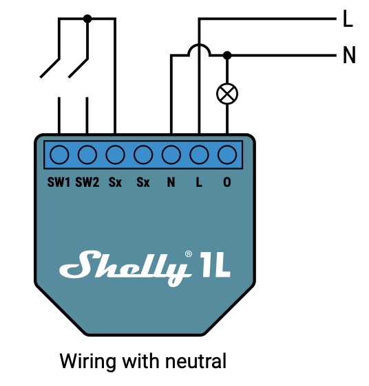 Shelly 1L with neutral wire official electrical diagram.