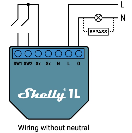 Official electrical diagram for Shelly 1L without neutral.