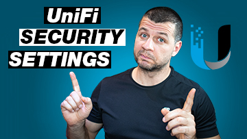 Kiril Peyanski pointing at unifi security settings label and ubiquiti logo