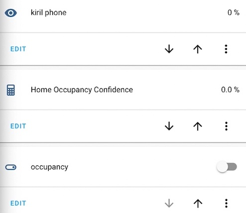 MQTT sensor, Home Occupancy Confidence sensor and occupancy helper are detecting that the tracked device is not at Home.