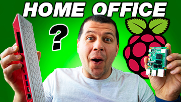 Kiril Peyanski Holding Raspberry Pi 4 and Raspberry Pi 400 with Home Office with question mark label
