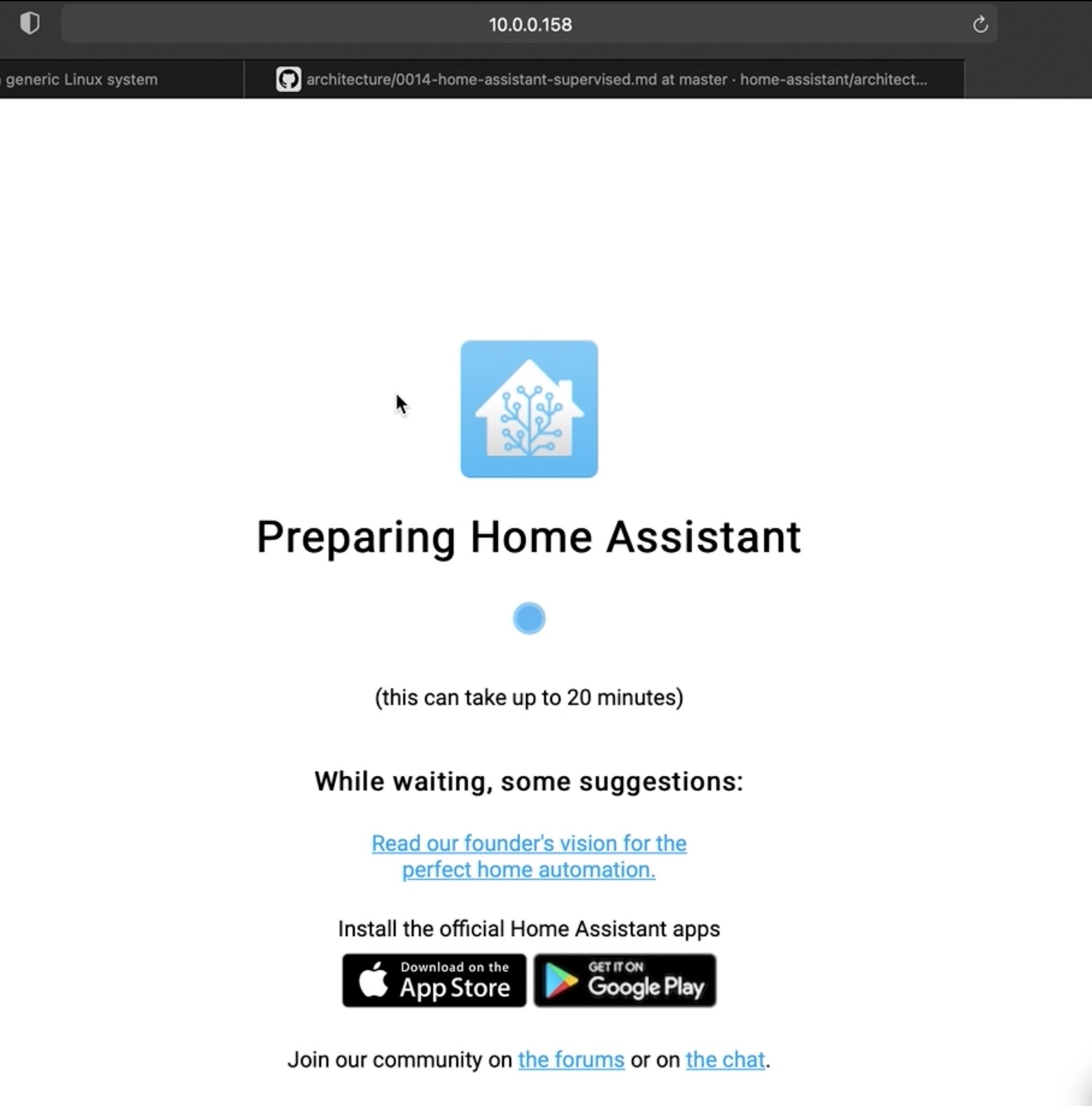 To install Home Assistant you should wait a bit for the installer script to finish.